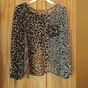 Voice Leopard Print Long Sleeve See Through Top